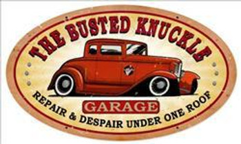 "Busted Knuckle Garage Hot Rod 24"" Oval Metal Sign"