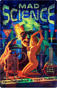 Mad Science Pin-Up Metal Sign