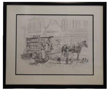 Coca-Cola Wagon Lee Dubin Framed Original Pencil Sketch