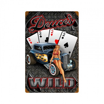 Dueces Wild Metal Sign Discontinued