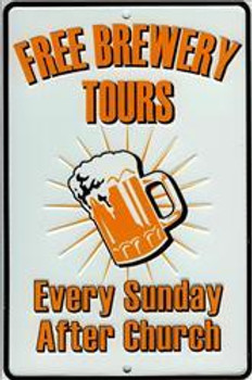 Free Brewery Tours -Embossed Aluminum Sign
