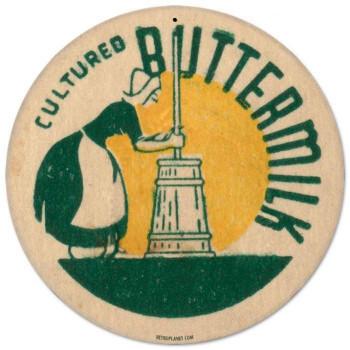 """Buttermilk 14"""" Round Metal Sign"""