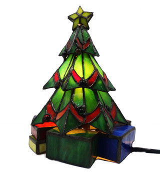 Christmas Tree Stained Glass Accent Lamp 12413