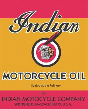 """Indian Motorcycle Oil Metal Sign 26"""" by 21"""""""