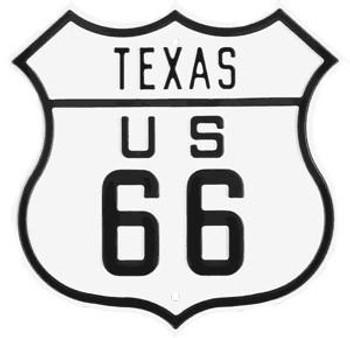 Texas Route 66 Steel Embossed