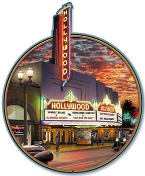 Hollywood Theater Plasma Cut Metal Sign