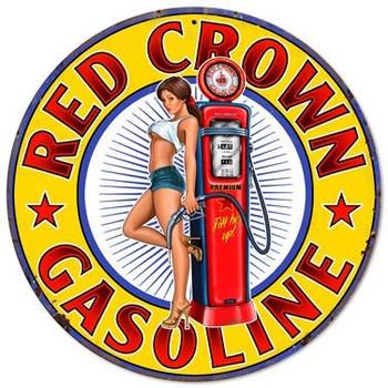 "Red Crown Gasoline 14"" Round Metal Sign"