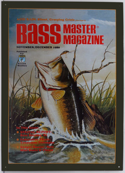 Bass Master Fish Jumping Metal Sign