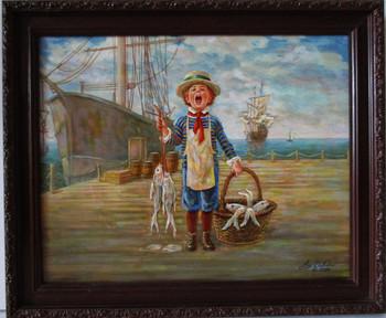 "Lee Dubin Framed Original Painting ""Fresh Fish Peddler"""
