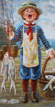 "Lee Dubin Framed Original Painting ""Fresh Fish Peddler"""