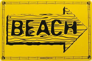 Beach Metal Sign Yellow