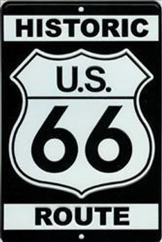 Historic US 66 Route Embossed Aluminum Sign