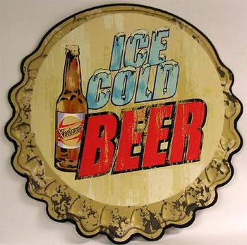 Ice Cold Beer Bottle Cap Embossed Plasma Cut