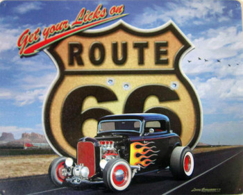 Get Your Licks on Route 66 Metal Sign