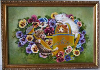 Lee Dubin-Three Kittens-Water Sprinkler-Original