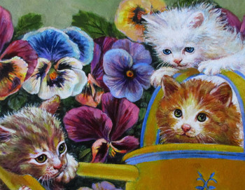 Lee Dubin-Three Kittens-Water Sprinkler-Original