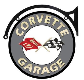 """Corvette Garage 22"""" disk hanging"""