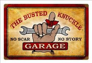 """Busted Knuckle Garage (18"""" by 12"""" metal sign)"""