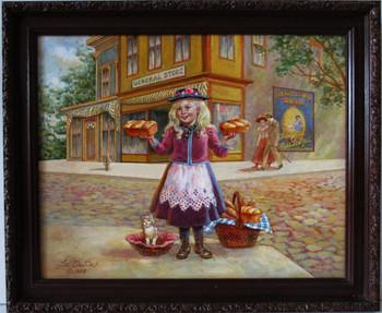 """Lee Dubin Framed Original Painting """"Fresh Bread Peddler"""""""