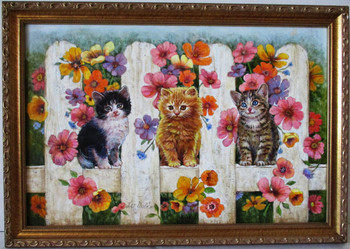 Lee Dublin-Three Kittens Wooden Fence-Original