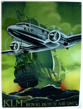 KLM Royal Dutch Air Lines Metal Sign