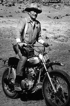 John Wayne on a Honda Motorcycle Metal Sign