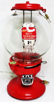 "Columbus Model ""A"" Peanut /Candy Dispenser Red Penny Operated Circa 1930's"