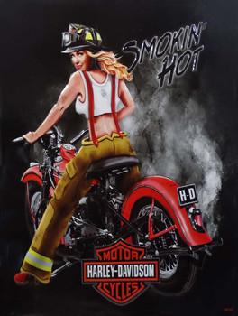 Smokin' Hot Firefighter Babe Harley-Davidson Metal sign