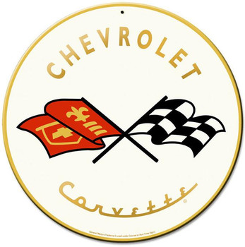 "Chevrolet Corvette 14"" Round Metal Sign"