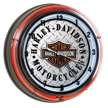 H-D® Diamond Plate Neon Clock