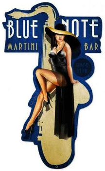 Blue Note Martini Bar Pin-Up Plasma Cut Sign