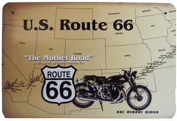 Route 66 Mother Road Motorcycle Aluminum Sign