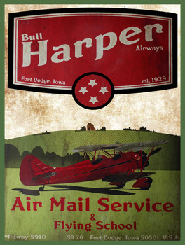Harper Air Mail Service Metal Sign