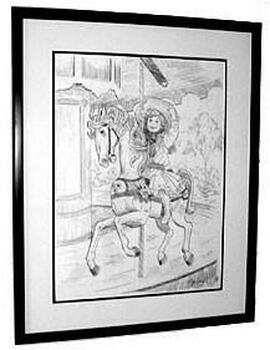 "Lee Dubin Framed Original Pencil Sketch ""Grab Brass Ring"""