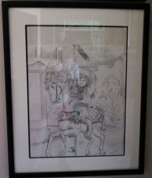 "Lee Dubin Framed Original Pencil Sketch ""Grab Brass Ring"""