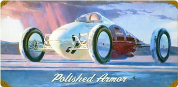 """Polished Armor Metal Sign 24"""" by 12"""""""