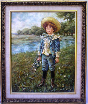 Blue Boy, Victorian Child by Lee Dubin Original Framed Oil Painting
