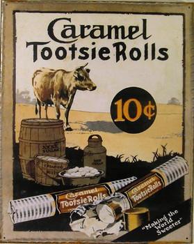 Caramel Tootsie Rolls 10c Metal Sign