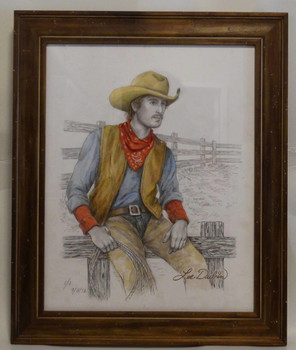 Cowboy Sitting Against the Fence Lee Dubin Framed Original Colored Pencil