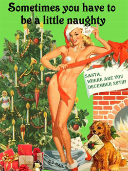 Little Naughty Christmas Pin-Up Metal Sign