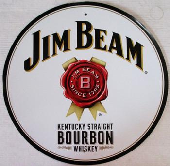 "Jim Beam Bourbon Embossed 24"" Round Aluminum Sign"