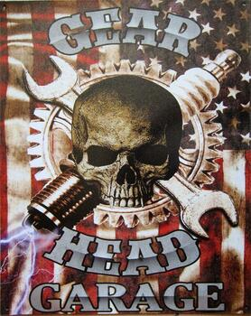 Gear Head Garage Metal Sign
