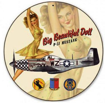 "Big Beautiful Doll-P51 Mustang 14"" Round Metal Sign"