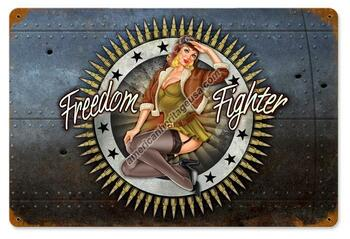 Freedom Fighter Pin-Up Metal Sign