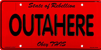OUTAHERE (plate)