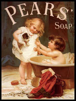 Pears Soap Two Children with Pup Metal Sign