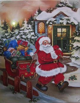 Santa Walking with Sleigh LED Canvas