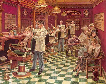 "Lee Dubin Limited Signed Canvas ""Barbershop"""