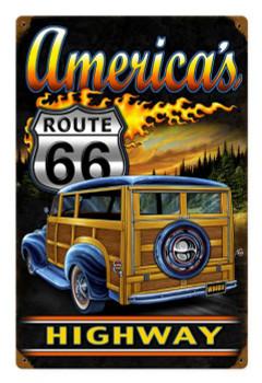 America's Highway Woodie Route 66 Metal Sign