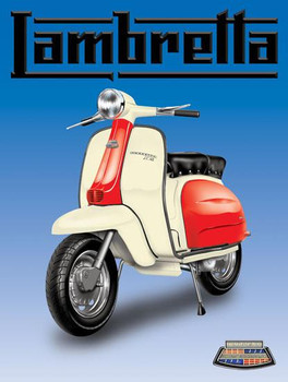 Lambretta Motor Scooter (blue background) Metal Sign